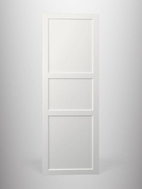 Shaker P4.3, kehyksellinen ovi, 3 paneelia, paneelin syvyys 9mm, kehys sileä, kehyksen leveys yhteensä 70mm, 45° sisäprofiililla.