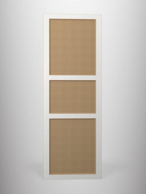 Shaker P4.3, kehyksellinen ovi, 45° sisäprofiililla, kolme paneelia, maalamaton.