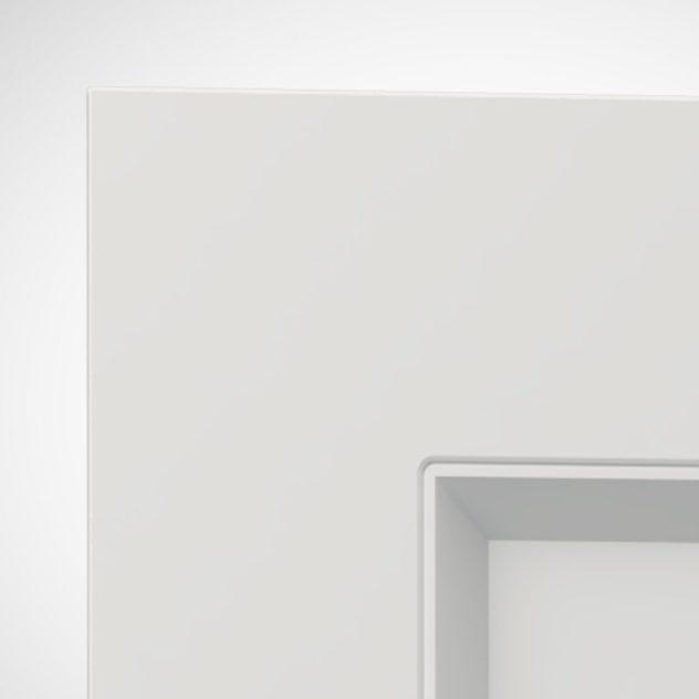 Shaker P4, kehyksellinen ovi, 1 paneeli, paneelin syvyys 9mm, kehys sileä, kehyksen leveys yhteensä 70mm, 45° sisäprofiililla.